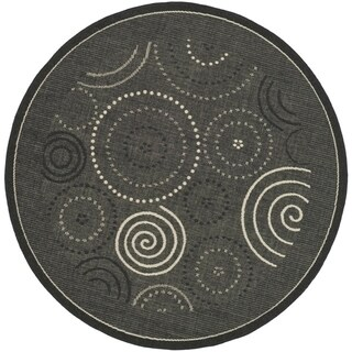 Safavieh Ocean Swirls Black/ Sand Indoor/ Outdoor Rug - 7' 10 Round