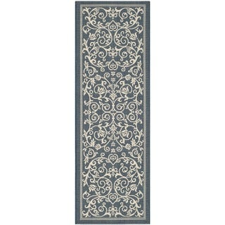 Safavieh Floral Indoor/Outdoor Courtyard Navy/Beige Rug (2' 3 x 6' 7 )