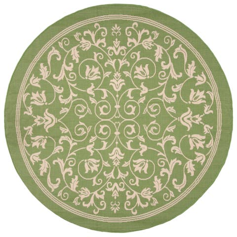 "Safavieh Resorts Scrollwork Olive Green/ Natural Indoor/ Outdoor Rug - 7'10"" x 7'10"" Round"