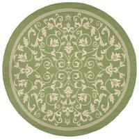 "Safavieh Resorts Scrollwork Olive Green/ Natural Indoor/ Outdoor Rug - 7'10"" x 7'10"" round"