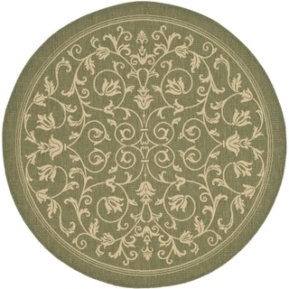 Safavieh Resorts Scrollwork Olive Green/ Natural Indoor/ Outdoor Rug (7' 10 Round)