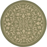 Safavieh Resorts Scrollwork Olive Green/ Natural Indoor/ Outdoor Rug - 7' 10 Round