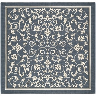Safavieh Indoor/Outdoor Courtyard Navy/Beige Floral Rug (6' 7 x 6' 7 Square)