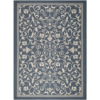 Safavieh Resorts Scrollwork Navy/ Beige Indoor/ Outdoor Rug (8' x 11')