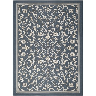 Safavieh Resorts Scrollwork Navy/ Beige Indoor/ Outdoor Rug (9' x 12')