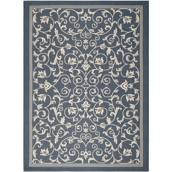Safavieh Resorts Scrollwork Navy/ Beige Indoor/ Outdoor Rug - 9' x 12'