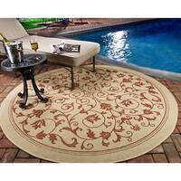 Safavieh Resorts Scrollwork Natural/ Terracotta Indoor/ Outdoor Rug - 7' 10 Round