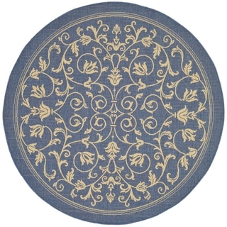 Safavieh Resorts Scrollwork Blue/ Natural Indoor/ Outdoor Rug (7' 10 Round)