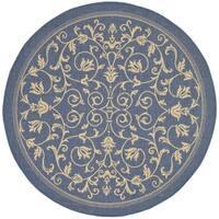 Safavieh Resorts Scrollwork Blue/ Natural Indoor/ Outdoor Rug - 7' 10 Round