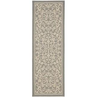 Safavieh Indoor/ Outdoor Courtyard Gray/ Natural Runner Rug (2' 4 x 14')