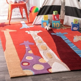nuLOOM Red Handmade Kids Giraffes Area Rug