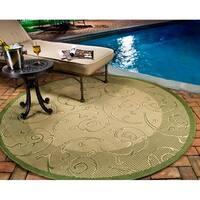 "Safavieh Oasis Scrollwork Natural/ Olive Green Indoor/ Outdoor Rug - 7'10"" x 7'10"" round"