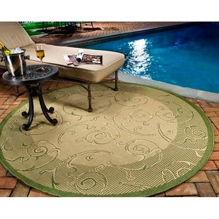 Safavieh Oasis Scrollwork Natural/ Olive Green Indoor/ Outdoor Rug (7' 10 Round)
