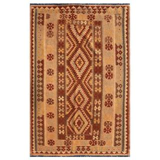 Herat Oriental Afghan Hand-knotted Mimana Kilim Light Brown Wool Rug (4'9 x 6'10)