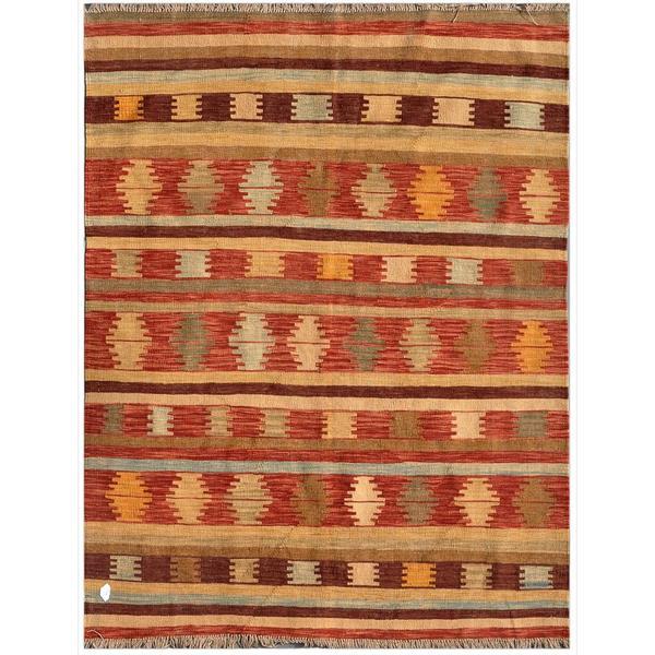 Afghan Hand-knotted Mimana Kilim Red/ Ivory Wool Rug (4'10 x 6'4)