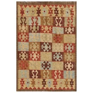 Herat Oriental Afghan Hand-knotted Wool Mimana Kilim (4' x 5'10)