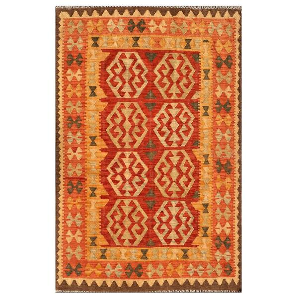 Afghan Hand-knotted Mimana Kilim Red/ Orange Wool Rug (4'1 x 6'4)