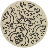 "Safavieh Bimini Damask Sand/ Black Indoor/ Outdoor Rug - 7'10"" x 7'10"" round"