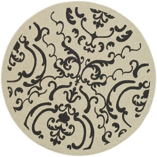 Safavieh Bimini Damask Sand/ Black Indoor/ Outdoor Rug (7' 10 Round)