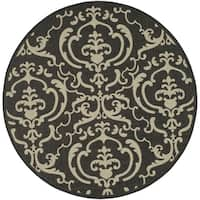 "Safavieh Bimini Damask Black/ Sand Indoor/ Outdoor Rug - 7'10"" x 7'10"" round"