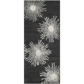 Safavieh Hand-made Soho Burst Charcoal/ Ivory Wool Rug (2'6 x 6')
