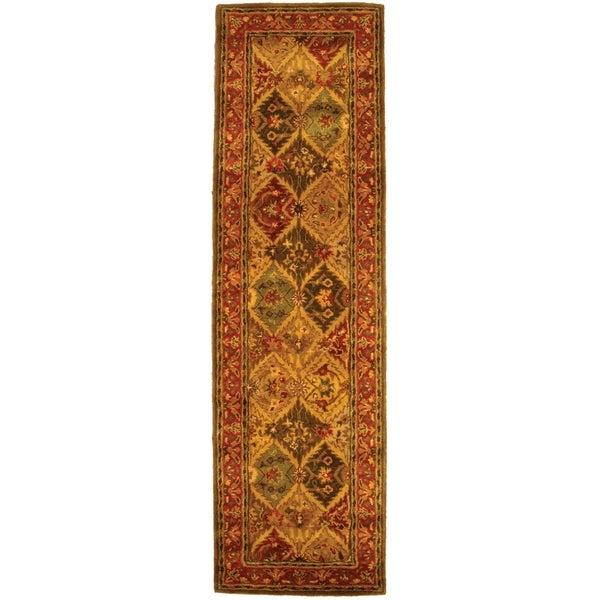 "Safavieh Handmade Heritage Traditional Kerman Burgundy Wool Rug - 2'3"" x 20'"