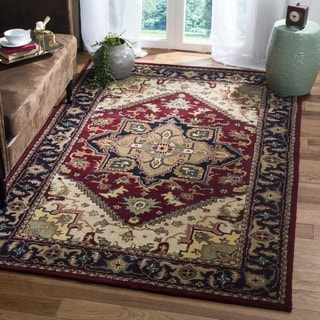 Safavieh Handmade Heritage Traditional Heriz Red/ Navy Wool Rug (4' Square)