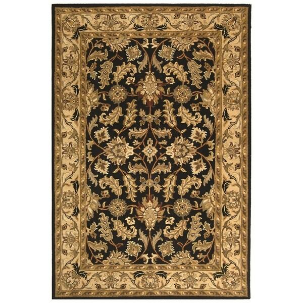 Safavieh Handmade Heritage Traditional Kashan Black/ Beige Wool Rug - 11' x 17'