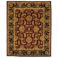 Safavieh Handmade Heritage Traditional Kashan Burgundy/ Black Wool Rug - 11' x 15'