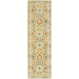 Safavieh Handmade Heritage Timeless Traditional Light Blue/ Ivory Wool Rug (2'3 x 18')