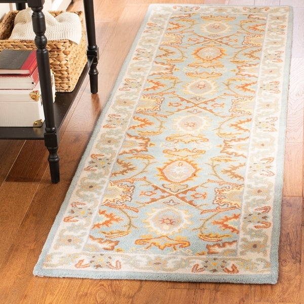 Safavieh Handmade Heritage Timeless Traditional Light Blue/ Ivory Wool Rug - 2'3 x 18'