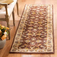 Safavieh Handmade Heritage Timeless Traditional Brown/ Ivory Wool Rug - 2'3 x 18'