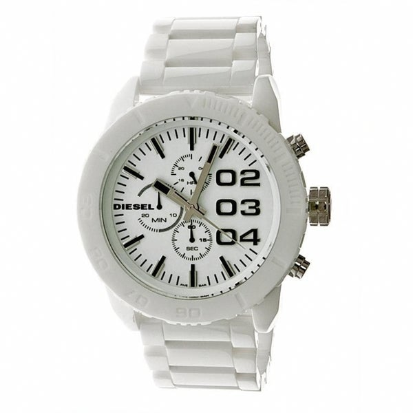 s watch diesel watches leather white dial mens men rollcage