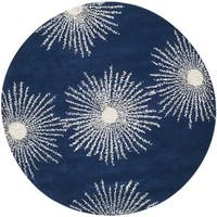 Safavieh Hand-made Soho Burst Dark Blue/ Ivory Wool Rug (6' Round)