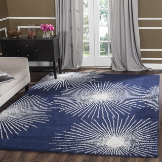 Safavieh Hand-made Soho Burst Dark Blue/ Ivory Wool Rug (6' Square)