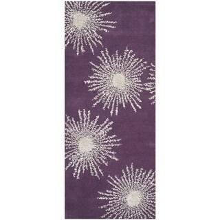 Safavieh Hand-made Soho Burst Purple/ Ivory Wool Rug (2'6 x 8')