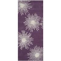 Safavieh Hand-made Soho Burst Purple/ Ivory Wool Rug - 2'6 x 8'