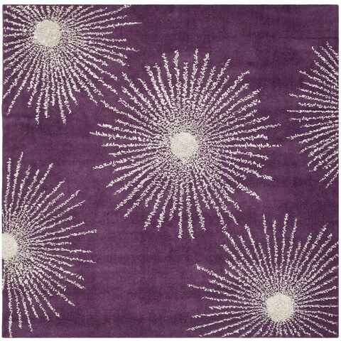 Safavieh Hand-made Soho Burst Purple/ Ivory Wool Rug - 6' x 6' Square