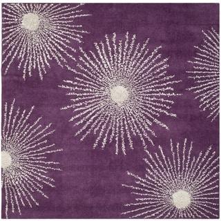 Safavieh Hand-made Soho Burst Purple/ Ivory Wool Rug (6' Square)