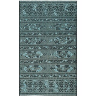 Safavieh Palazzo Black/ Turquoise Over-dyed Chenille Rug (5' x 8')