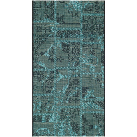 Safavieh Palazzo Black/ Turquoise Overdyed Chenille Area Rug - 2' x 3'6""