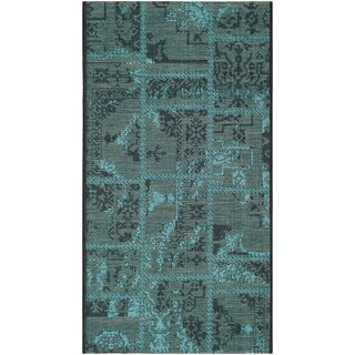 Safavieh Palazzo Black/ Turquoise Over-dyed Chenille Rug (2' x 3'6)