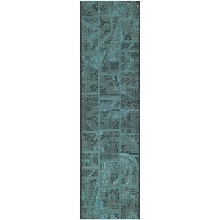 Safavieh Palazzo Black/ Turquoise Over-dyed Chenille Rug (2' x 7'3)