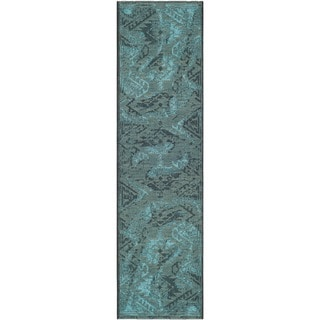 "Safavieh Palazzo Transitional Black/Turquoise Overdyed Chenille Rug (2' x 7'3"")"