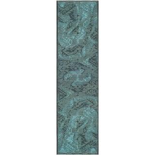 "Safavieh Palazzo Transitional Black/Turquoise Overdyed Chenille Rug (2' x 7'3"")|https://ak1.ostkcdn.com/images/products/8058787/8058787/Safavieh-Palazzo-Black-Turquoise-Over-dyed-Chenille-Rug-2-x-73-P15415537.jpg?impolicy=medium"