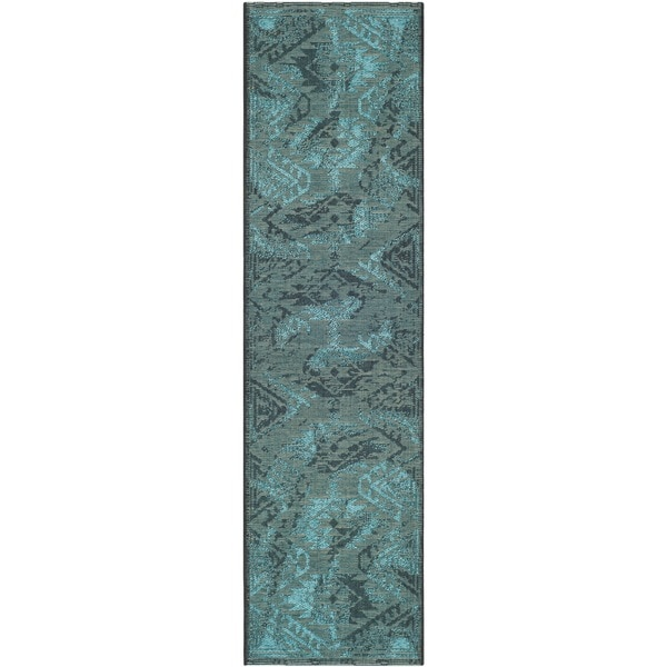 """Safavieh Palazzo Transitional Black/Turquoise Overdyed Chenille Rug (2' x 7'3"""")"""