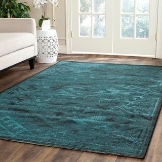Safavieh Palazzo Black/ Turquoise Overdyed Chenille Rug (5' x 8')