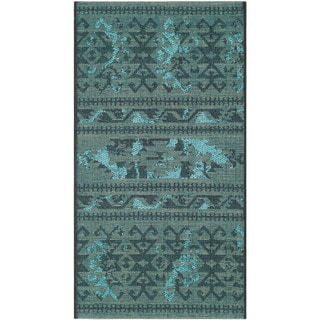 "Safavieh Palazzo Transitional Black/Turquoise Overdyed Chenille Rug (2' x 3'6"")"