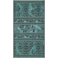 Safavieh Palazzo Black/ Turquoise Overdyed Chenille Area Rug (2' x 3'6)