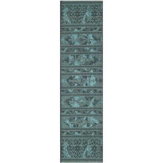 "Safavieh Palazzo Oriental Black/Turquoise Overdyed Chenille Rug (2' x 7'3"")"